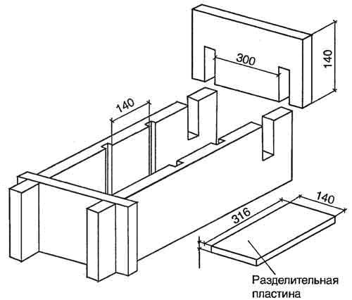 Деревянная матрица (форма) для шлакоблока
