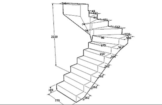 Схема-образец винтовой лестницы