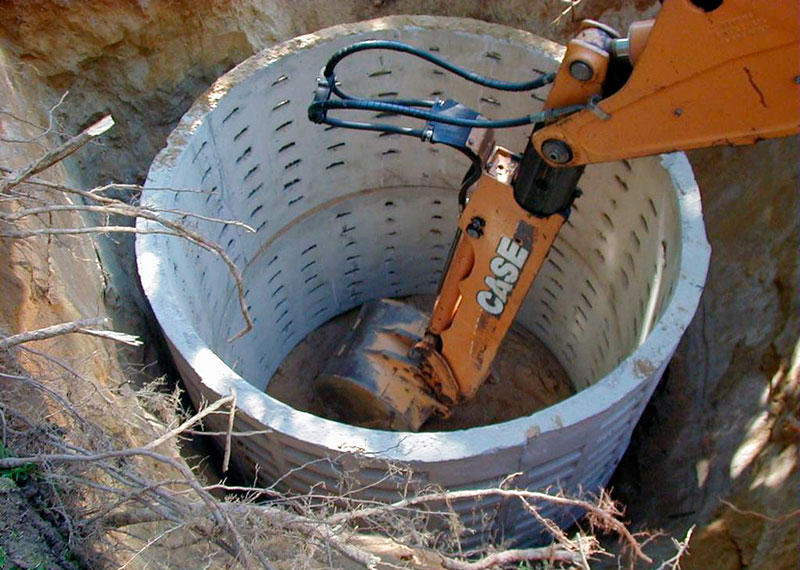 Перфорированные железобетонные кольца для выгребной ямы