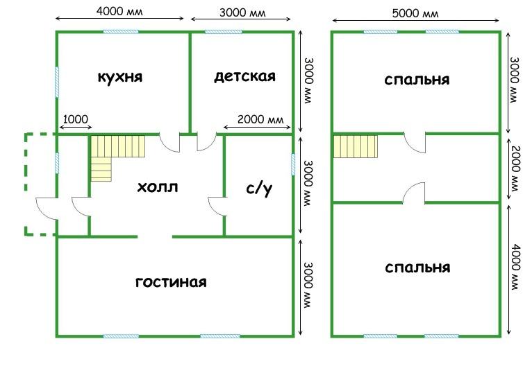 План двухэтажного дома из газобетона