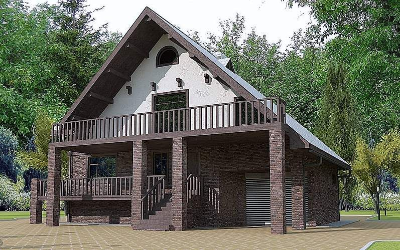 Дом из блоков с мансардой