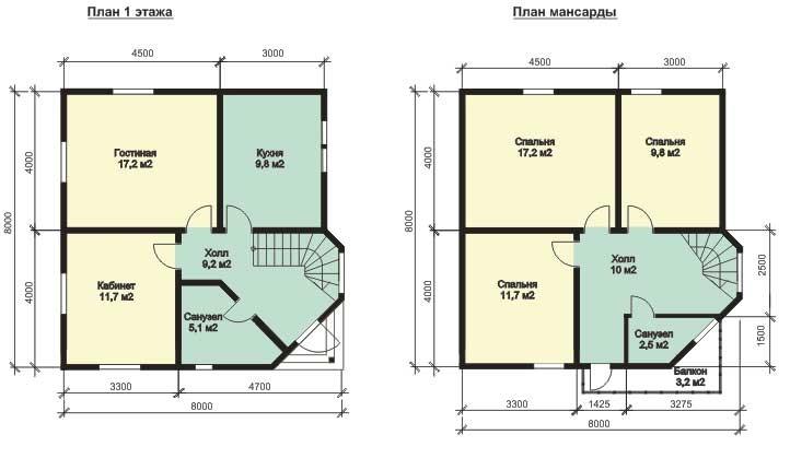 Планировка для дома 8х8 может быть следующей:Планировка для дома 8х8