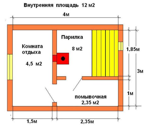 План-схема наиболее простого строения, площадью 12м2