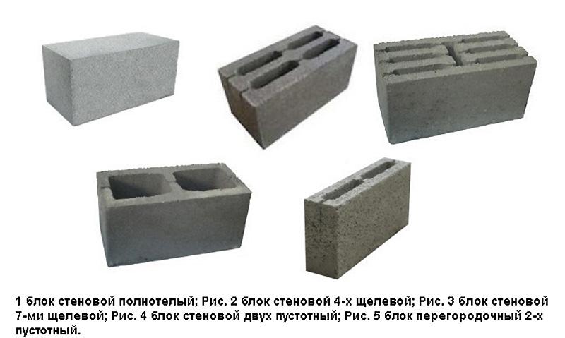 Разновидности керамзитобетонных блоков
